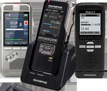 Alle DS-2 dictafoons worden ondersteund in RedSpeak